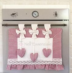 Coordinated with oven cover, pot holders and oven glove Refrigerator Covers, Coffee Bar Home, Oven Glove, Hanging Hearts, Fabric Squares, Dollar Store Crafts, Patch Quilt, Valentine Decorations, Household Items