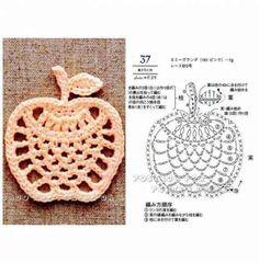 filet crochet New Fruit Pattern Charts Ideas Appliques Au Crochet, Crochet Motifs, Crochet Stitches Patterns, Crochet Chart, Thread Crochet, Crochet Designs, Crochet Doilies, Crochet Flowers, Crochet Lace