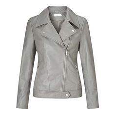 BuyJohn Lewis Betsy Leather Biker Jacket, Light Grey, 10 Online at johnlewis.com