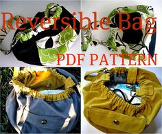 INSTANT DOWNLOAD Reversible Bag PDF Sewing Pattern and Picture Tutorial - slouchy, hobo style
