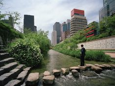 Stream, Seoul  Photograph by Greg Girard, National Geographic    Urban Renewal   Seoul, South Korea   Buried under an elevated highway for decades, the Cheonggyecheon stream once again flows in the open air through downtown Seoul. A 3.6–mile–long stretch of the stream was restored in 2005.