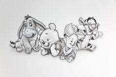 Disney Drawings Sketches, Cute Disney Drawings, Cartoon Drawings, Cute Drawings, Drawing Sketches, Drawing Disney, Tattoo Sketches, Whinnie The Pooh Drawings, Winnie The Pooh Tattoos