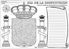 """Una nueva actividad que añadimos a las que puedes encontrar en la sección de """"Transversales – Eventos y Festividades – Constitución"""". La dejamos con dos niveles de dificultad, con y sin las palabras que se deben buscar, para que cada cual elija el nivel de dificultad. Sopa de letras Constitución … Spanish King, Science, Words, Learning Activities, Spanish Flags, Constitution Day, Alphabet Soup, One Day, Index Cards"""