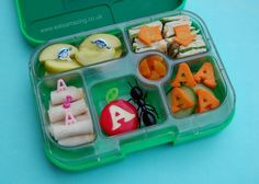 Eats Amazing - Alphabet Themed Kids Bento Lunches - A is for Apple Ant Arrow Aeroplane Apricot