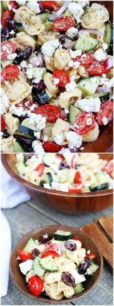 Tortellini Salad Recipe on . This salad is always a hit at potlucks! It is a family favorite!Greek Tortellini Salad Recipe on . This salad is always a hit at potlucks! It is a family favorite! Vegetarian Recipes, Cooking Recipes, Healthy Recipes, Greek Food Recipes, Amish Recipes, Greek Tortellini Salad, Tortellini Pasta, Tortellini Ideas, Greek Chicken Salad