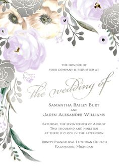 Watercolor garden rose wedding invitation with silver foil stamping from the David Tutera Invitation Collection. Absolutely stunning! Shown in lavender. #loveyourinvites #davidtutera