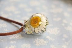 Dried Flowers Glass Orb Necklace
