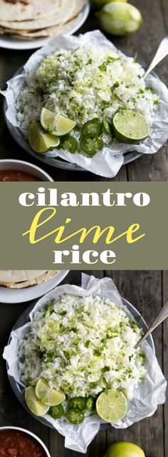 Easy Cilantro Lime Rice via @theforkedspoon #rice #carbs #sides #lime #cilantro #mexican #easyrecipe