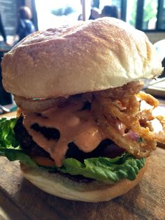 Wagyu burger with onion rings in it! D-e-licious!!