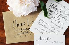Haley + Millers Informal Calligraphy Wedding Invitations | Oh So Beautiful Paper