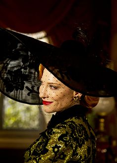 Cate Blanchette in Cinderella. Loved the profile shot of this costume when Lady Tremaine first enters the house. Costume designer: Sandy Powell