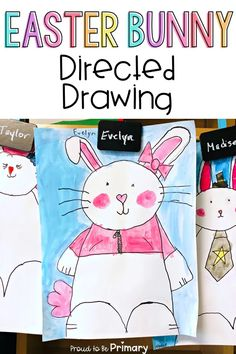 Are you searching for the perfect arts and craft activity for Easter? This Easter bunny directed drawing provides teachers with an easy to teach lesson that Kindergarten and primary kids will love! {FREE directions included} #directeddrawing #easter #easteractivities #easterbunny #artforkids #teacherfreebie