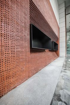 GEOM design stacks red bricks to build the façade of JPG coffee in china Brick Architecture, Chinese Architecture, Architecture Details, Interior Architecture, Futuristic Architecture, Brick Design, Facade Design, Brick Interior, Interior And Exterior