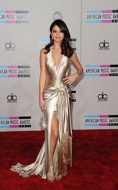 Selena Gomez wearing Giorgio Armani Pewter Satin Gown Jimmy Choo Vamp Glitter-finish Sandals