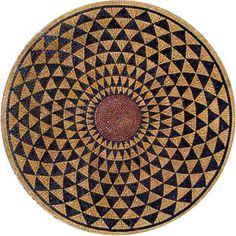 Round Stone Mosaic – Dunya - Dunya  Gold and Black Round Stone Mosaic - Arabesque Mosaic Art - Mosaic Patterns - Mosaic Medallions - Mosaic Designs | #Mozaico