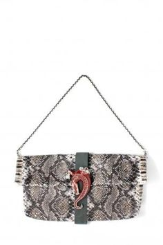 Pignarea bag - Ginevra. Leather shoulder bag / clutch hand bag with grey python print, removable chain. Black nabuk leather bandage in the middle with red crocodile jewel in front. Fully lined in emerald green, little open pocket inside. Pignarea Fall Winter Collection 2013-2014.  Height: 23 cm; width: 42 cm; depth: 5 cm. Chain lenght approx: 70 cm.