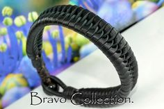 5B-265 Finely Made Kangaroo Leather Black Onyx Stone Wristband Men Bracelet