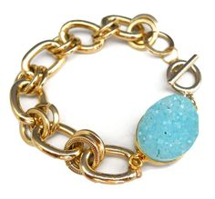 ToccaJewelry - Aqua Druzy Bracelet with 14K GP Chunky Chain Bracelet. $50.00, via Etsy.
