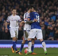 Chelsea striker Diego Costa appears to BITE Gareth Barry before being sent off in FA Cup quarter-final defeat at Goodison Park   1hrSPORT
