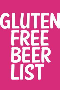 Gluten Free Beer List from Glutenista Lucia check this out! Gluten Free Drinks, Gluten Free Alcohol, Gluten Free Beer, Gluten Free Recipes, Dairy Free, Gluten Intolerance Symptoms, Gluten Free Living, Free Tips, Foods With Gluten