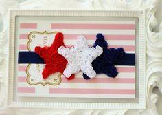 SALE-Red White Blue Baby Headbands..Patriotic Headband.Baby Headband..July Fourth Headband.Patriotic Headband..Shabby Chic Headband..Baby