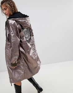 63371baa4eeb Native Rose Festival Oversized Parka Jacket In Metallic Foil With Beaded  Back Patch