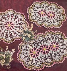 1950's Pink Daisy Doily Set Vintage Crochet Patterns by annalaia, $3.75