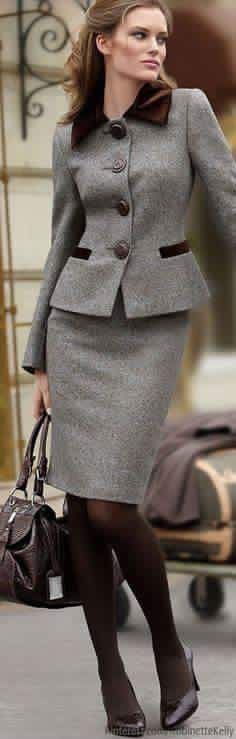 Love This Grey Suit With Brown Velvet Trim So Clic And Cly