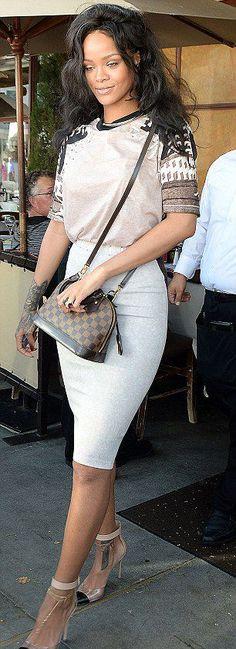 Rihanna's Il Pastaio Restaurant Louis Vuitton Alma BB handbag in Damier Ebène and Gianvito Rossi Leather and Perspex Pumps