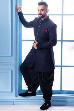 Buy Solemn Blue Indo Western - Contemporary wear from the house of Manyavar. Choose from a wide range of designer Indo western, Sherwani, traditional dresses for men online. Sherwani For Men Wedding, Wedding Dresses Men Indian, Wedding Dress Men, Sherwani Groom, Wedding Groom, Wedding Outfits For Men, Mens Wedding Wear Indian, Boys Wedding Suits, Formal Dresses For Men