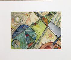 Bauhaus style Original watercolor. Available at Taramberic on Etsy.