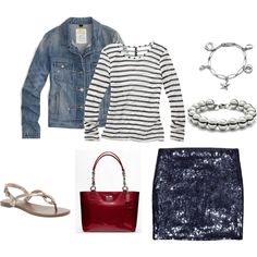 Love the blue sequin skirt! J Crew jean jacket, red patent Coach purse, and very cute sandals.