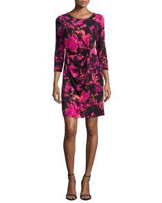 Diane von Furstenberg Zoe Floral Daze Sheath Dress, Black/Pink, Women's, Size: 6