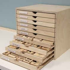 Craft Storage in IKEA Shelving The Drawer Cabinet is great for storing wood-mounted stamps!The Drawer Cabinet is great for storing wood-mounted stamps! Craft Paper Storage, Craft Organization, Homework Organization, Stationary Organization, Scrapbook Organization, Organizing Life, Space Crafts, Home Crafts, Craft Space