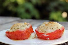 Baked Eggs In Tomato Recipe; I love meatless dishes that have protein!