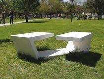 Engineered stone contemporary public bench - BANDA DOBLADA