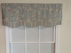 Damask and stripe layered shaped valance with gimp by VieDeJolie