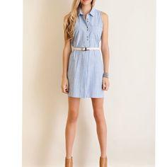 ARRIVAL Lt. denim Blue stripe belted shirt dress Stripe button down cotton shirt dress. Features belt on waist. BELT IS INCLUDED. Pocket on the front. Non-sheer, woven, Lightweight. Material: 100% cotton. Pink Peplum Boutique Dresses