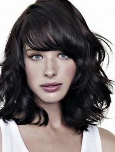 medium length layered hairstyles | Choppy Medium Side Bangs with layered shoulder length hairstyle: