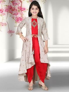 Red hue party wear punjabi dhoti suit - G3-GSS1139 | G3fashion.com Girls Dresses Sewing, Stylish Dresses For Girls, Gowns For Girls, Frocks For Girls, Dresses Kids Girl, Kids Party Wear Dresses, Baby Girl Party Dresses, Designer Party Wear Dresses, Baby Girl Dress Design