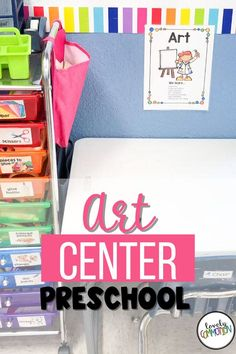 Come take a sneak peek at what is inside my preschool art center. Art Center Preschool, Preschool Art, Play Based Learning, Learning Centers, Center Labels, Eye Stickers, Liquid Watercolor, Copy Paper, Stamp Pad