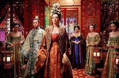 Curse of the Golden Flower   Yimou Zhang's Chinese historical drama Curse of the Golden Flower is a sumptuous production that for many audiences felt too overdone, stifling, or melodramatic. Whatever your view, the extravagant imagery and costume design suited Zhang's depiction of the intense relationships amongst the royal family members. The Tang Dynasty epic's lavishly rich costumes also mirror the cool, ceremonial airs of its players throughout.