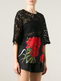 Dolce & Gabbana Blusa Com Renda E Estampa Floral - Parisi - Farfetch.com