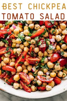 Best Chickpea Tomato Salad—Full of fresh ingredients and a different way to use beans, our Chickpea Tomato Salad is healthy, filling and super addictive. The bonus? You will love the Lemon-herb-garlic dressing! Tomato Salad Recipes, Vegetarian Salad Recipes, Chickpea Recipes, Easy Salad Recipes, Veggie Recipes, Lunch Recipes, Real Food Recipes, Chickpea Salad, Healthy Recipes