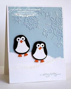Penguin card using Stampin' Up Owl punch. Cute!