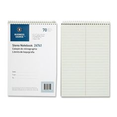 """business source steno notebook,greg ruled,6""""x9"""",70 sheets,green paper Case of 2"""