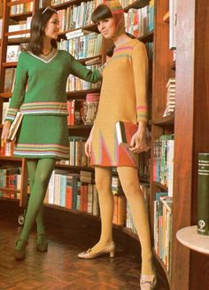 Fashion 1968 Colored Tights and Knit Dresses - fashion history for women. A return to youth, shocking colors, shorter hemlines, pop art and the hippie movement. What did women wear?
