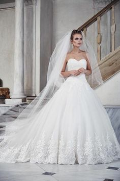 Strapless Lace Bridal Ball Gown With Sweetheart Neckline