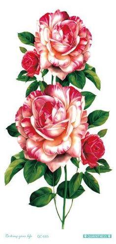 Flowers Tattoos - 21 Styles Botanical Flowers, Floral Flowers, Vintage Flowers, Flower Art, Real Tattoo, Fake Tattoos, Flower Tattoos, Art Floral, Tatuajes Tattoos