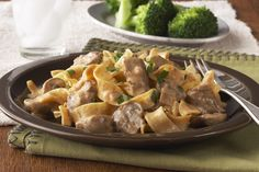Prepare this classic Slow-Cooker Beef Stroganoff for your next family meal. Simply prep the pasta while the beef, garlic, onions and mushrooms simmer away.